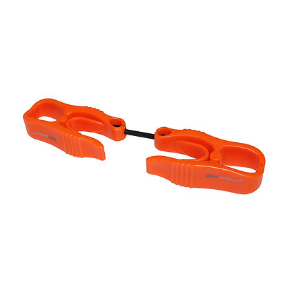 side view orange two piece glove clip