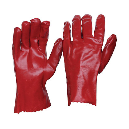 Front and back view of a pair of PVC chemical resistant gloves