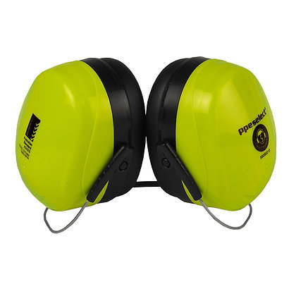 side view high visibility yellow neck band earmuffs