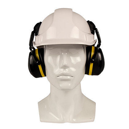front view black and yellow cap attached earmuffs