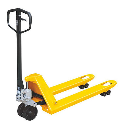 side view yellow pallet jack trolley