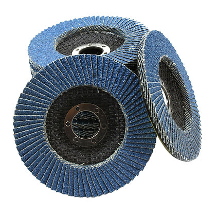 Group of blue zirconia flap discs