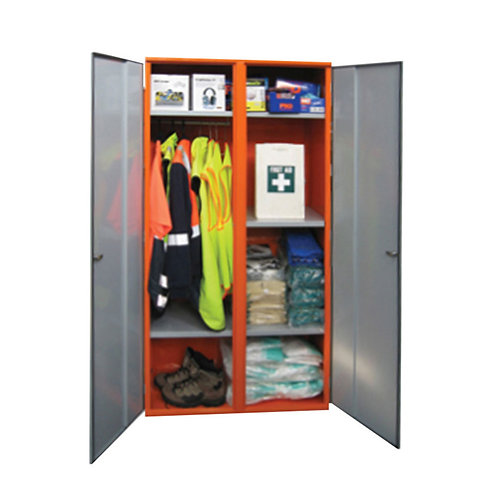 PPE Double Door Storage Cabinet with Hanging Rail