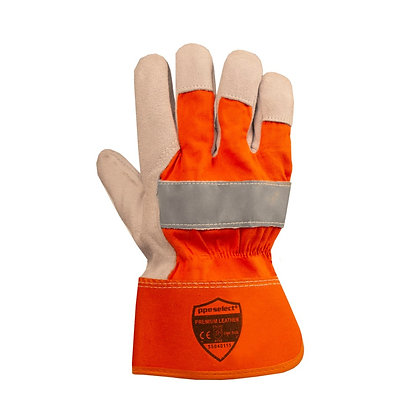 back view of orange gloves