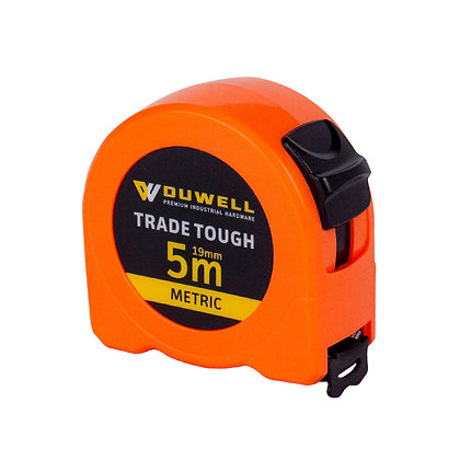 Side view of high visibility orange 5m tape measure