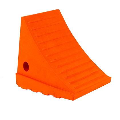 Side view of orange wheel chock 20t