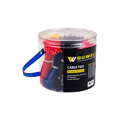 Cable Ties, 1,000pk - Assorted Colours, 100 x 2.5mm