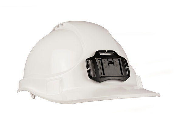 Side view of white hard hat with helmet mount