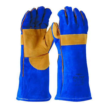 front view pair of blue leather kevlar gloves
