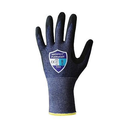 back view blue cut 5 pu/nitrile coated glove