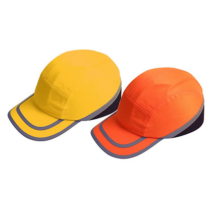 side view high visibility yellow and oragne bump cap