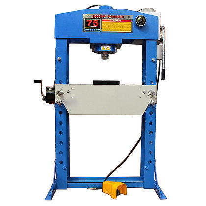 front view of blue hydraulic press