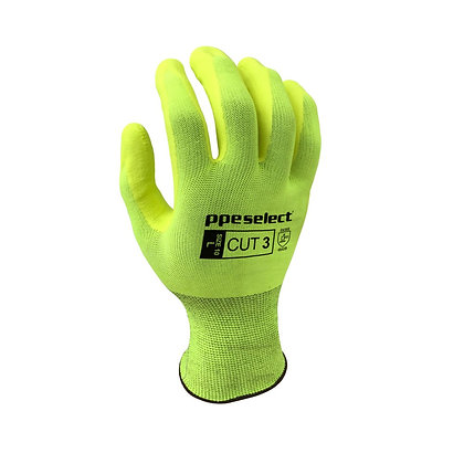 back view high visibility yellow cut 3 glove
