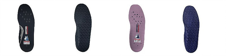 Different styles of shoe soles