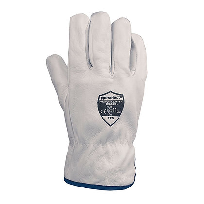 back view white leather riggers glove
