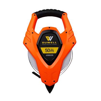 Front view high vis orange 50m fibreglass tape measure