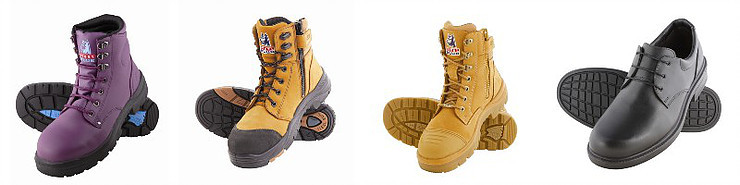 Different styles of safety boots