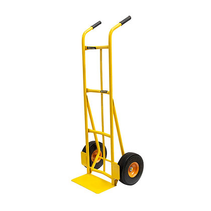 side view yellow hand trolley with steel wheels