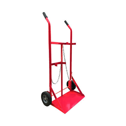 Side view red Gas Cylinder Trolley Solid black Wheels