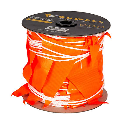 Duwell 100m roll of hi-vis orange bunting