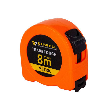 Side view of high visibility orange 8m tape measure