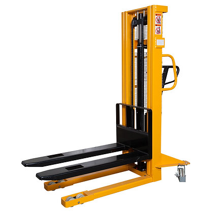 side view yellow manual pallet stacker