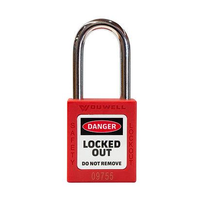 Four pack red padlock keyed alike