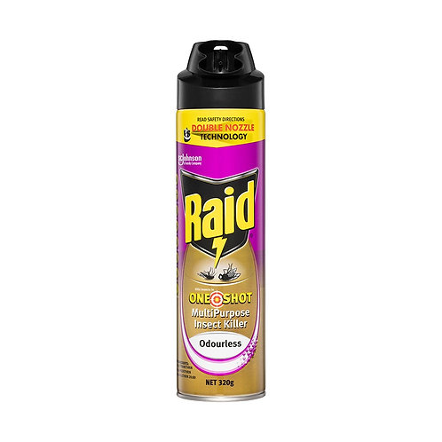 Insecticide Raid One Shot Odourless Multipurpose Double Nozzle 320g