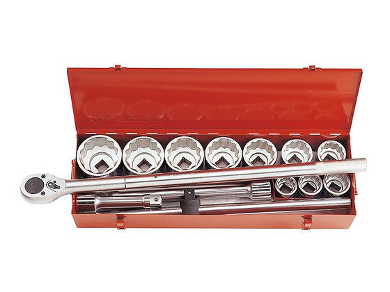 "Socket & Ratchet Sets, 1"" Drive, Metric, 14 Piece"