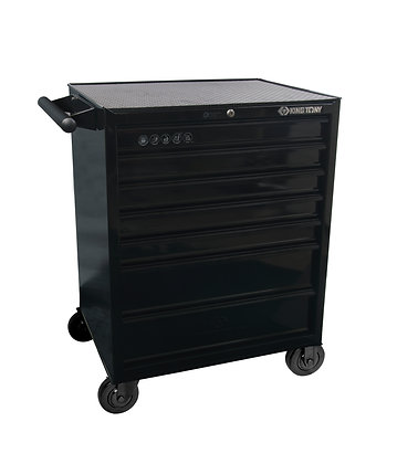 front view black 7 draw tool trolley cabinet