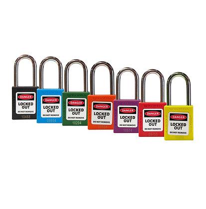 Group of multi coloured padlocks