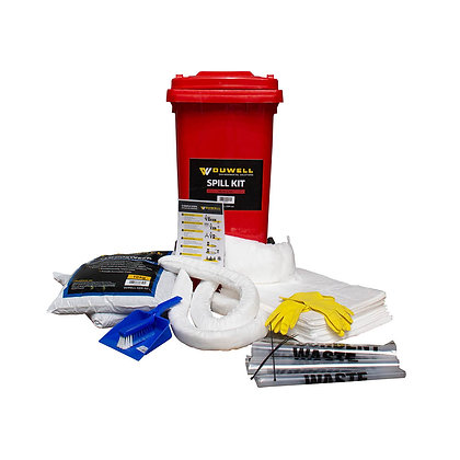 Front view of oil and fuel 120L Spill Kit with contents