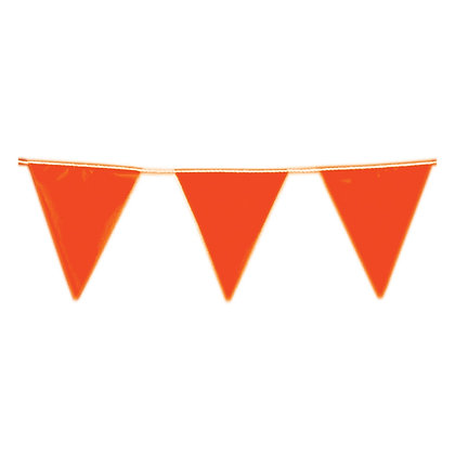 Side view of high vis orange Duwell bunting flags