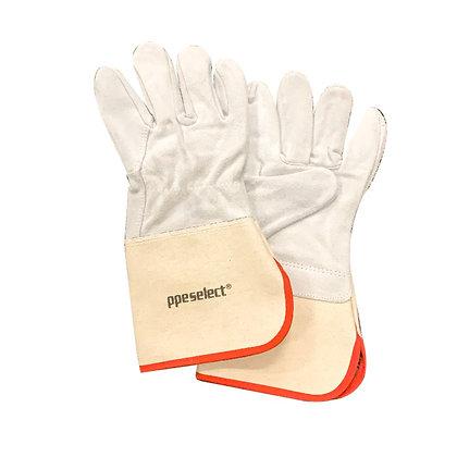 pair of white chrome leather gloves