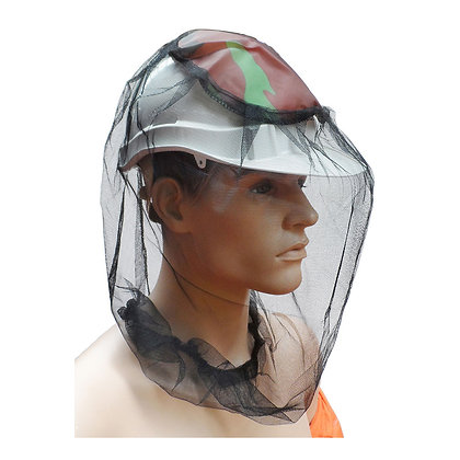 Side view of mannequin head with insect repellent head net covering