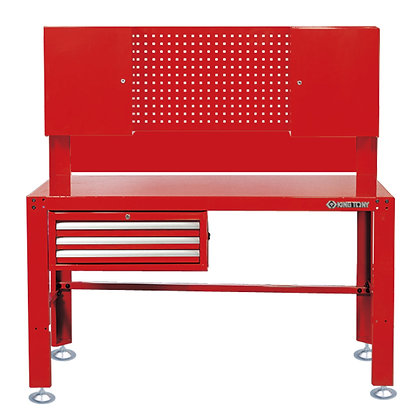 front view red metal work bench