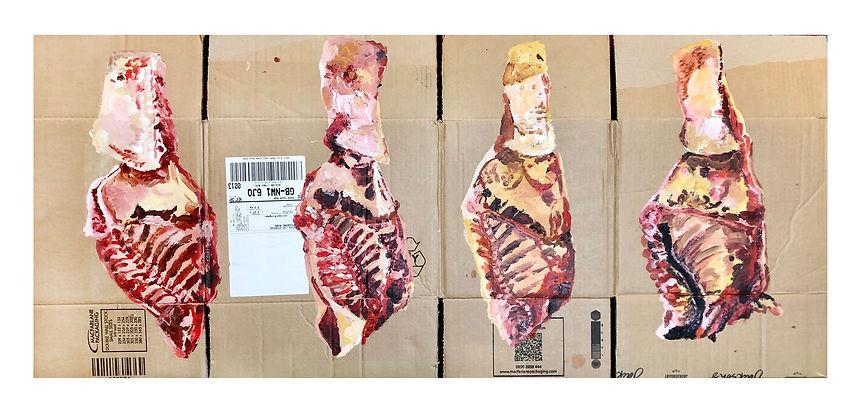 'Carne su cartone', acrylic on cardboard, 108 x 47 cm, 2020