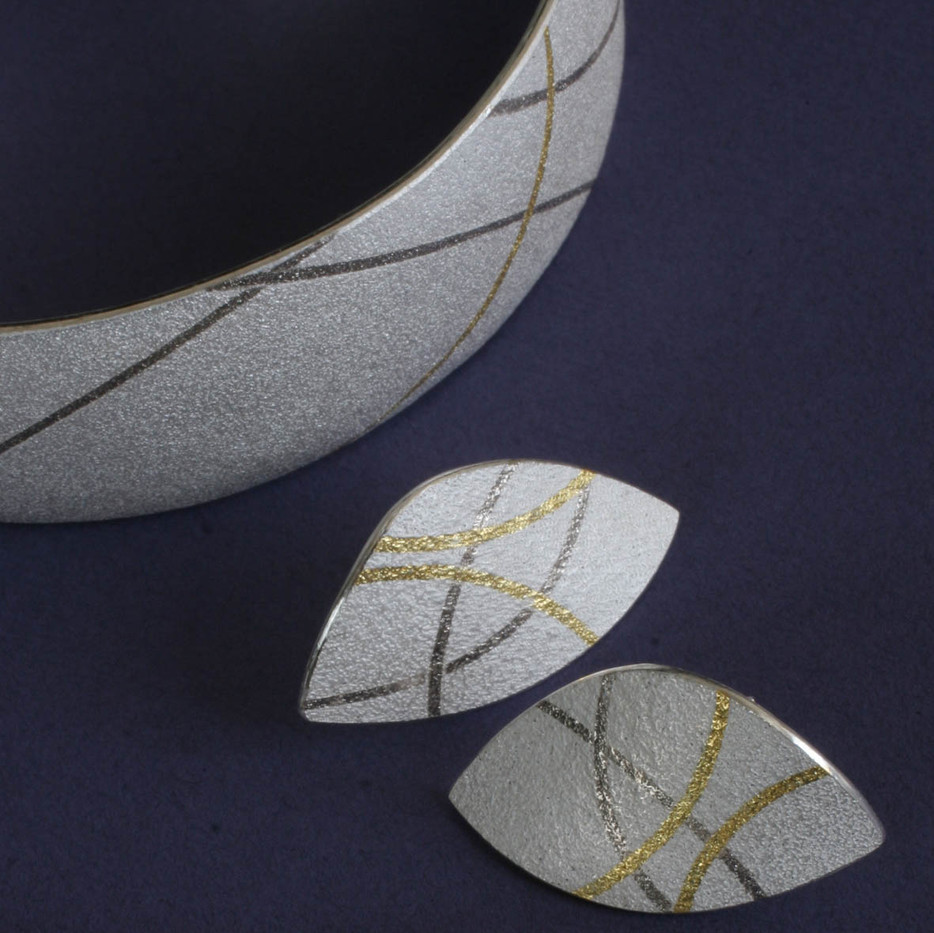 Gold and Platinum Thread Bangle and Earrings