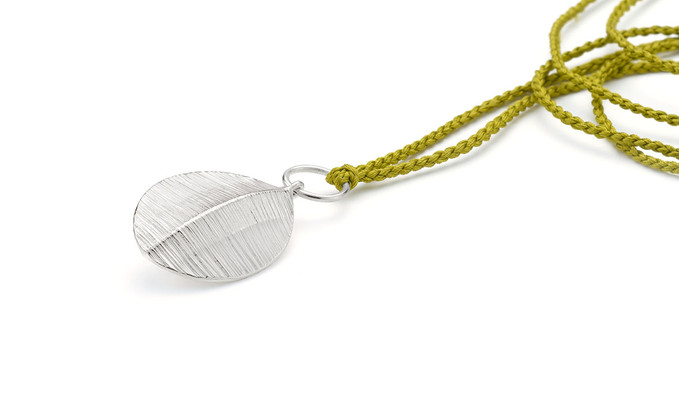 Forged Silver Pod Pendant on Silk Cord