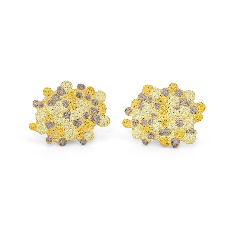 18ct Gold Sunburst Lichen Earrings