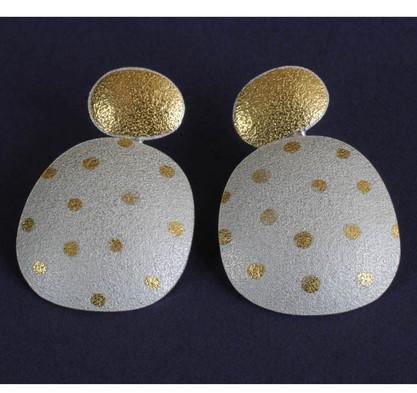 Gold Spot Two Part Earrings