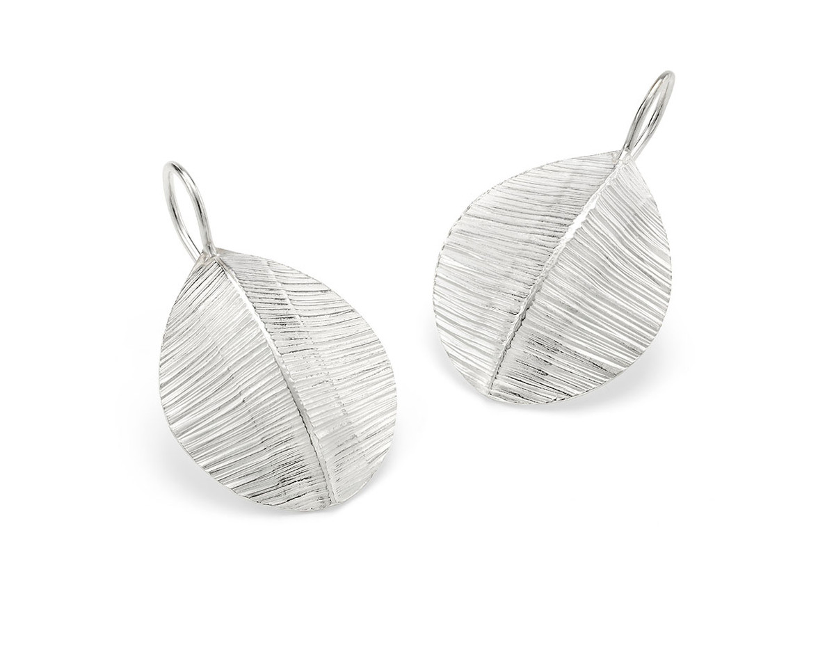Forged Silver Teardrop Loop Earrings