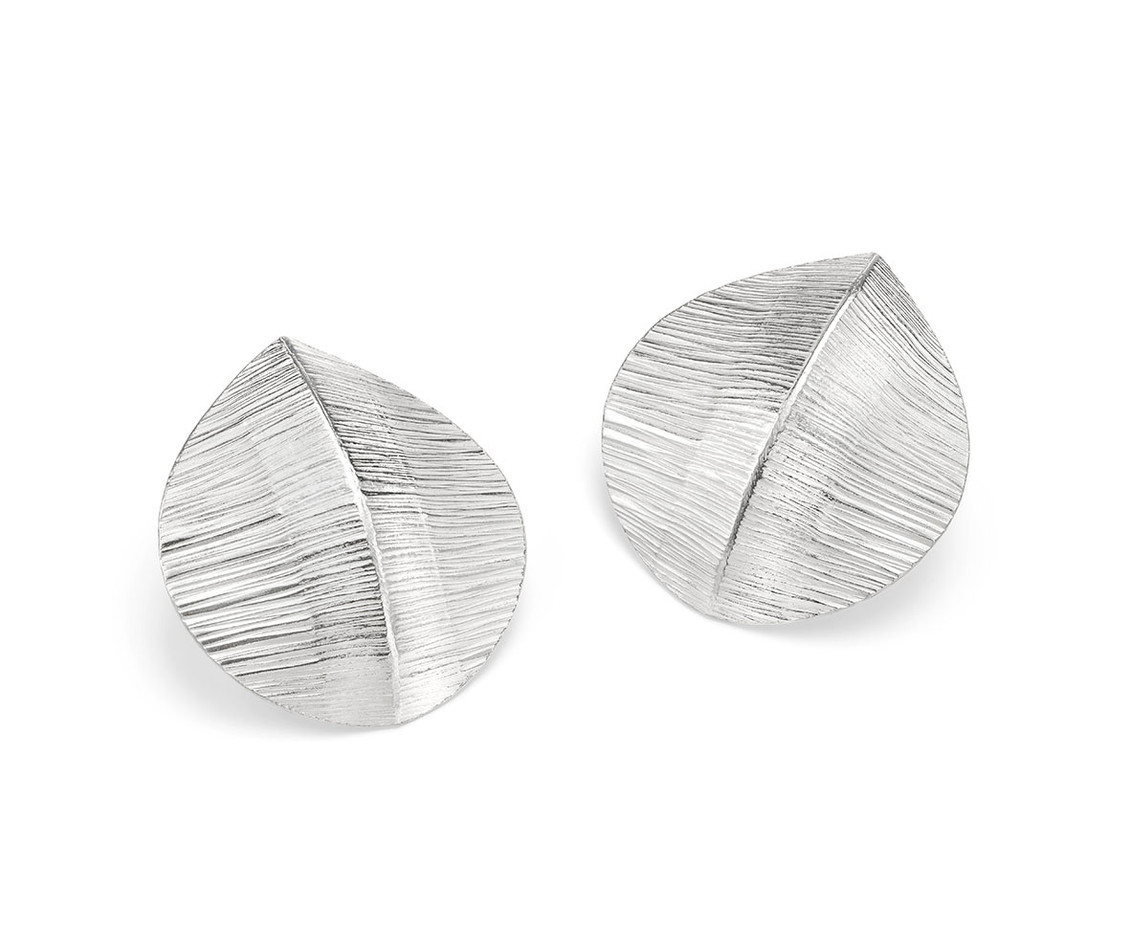 Forged Silver Large Teardrop Studs