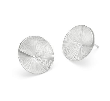 Forged Silver Split Disc Earrings