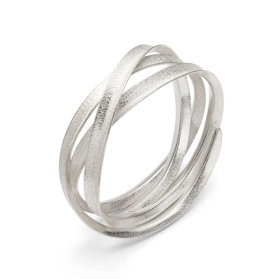 Curl Bangle Triple Silver
