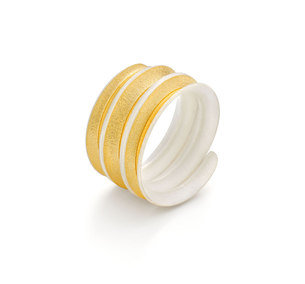 Gold Lined Silver Curl Coil Ring