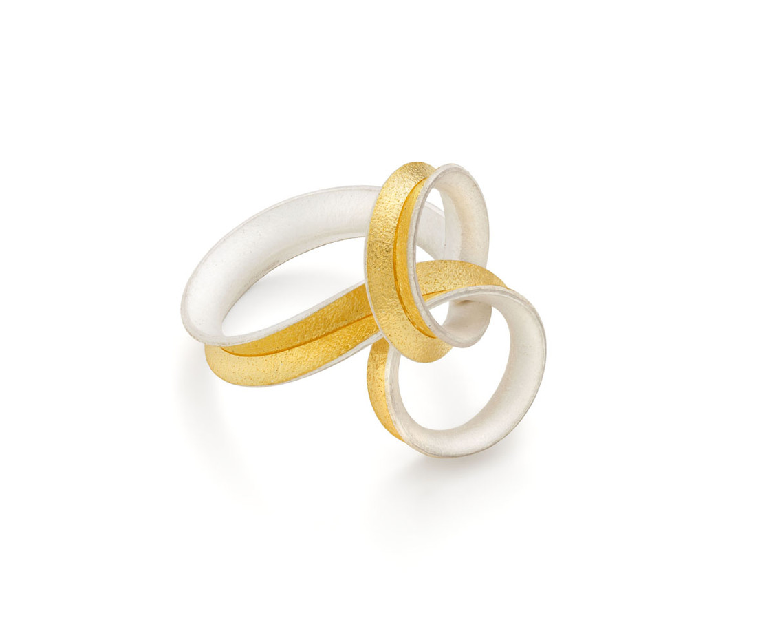 Gold Lined Silver Curl Loop Ring