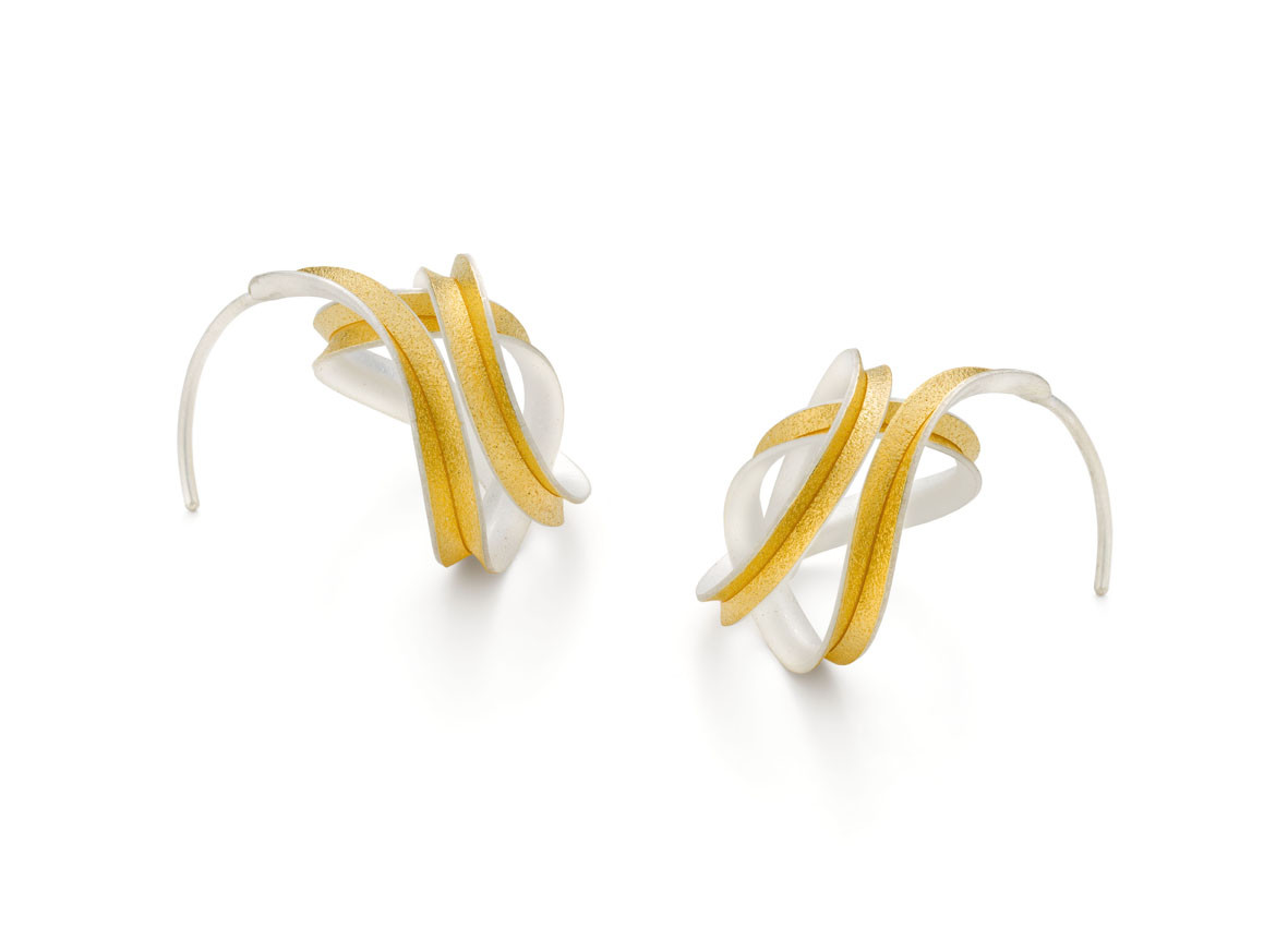 Gold Lined Silver Curl Earrings