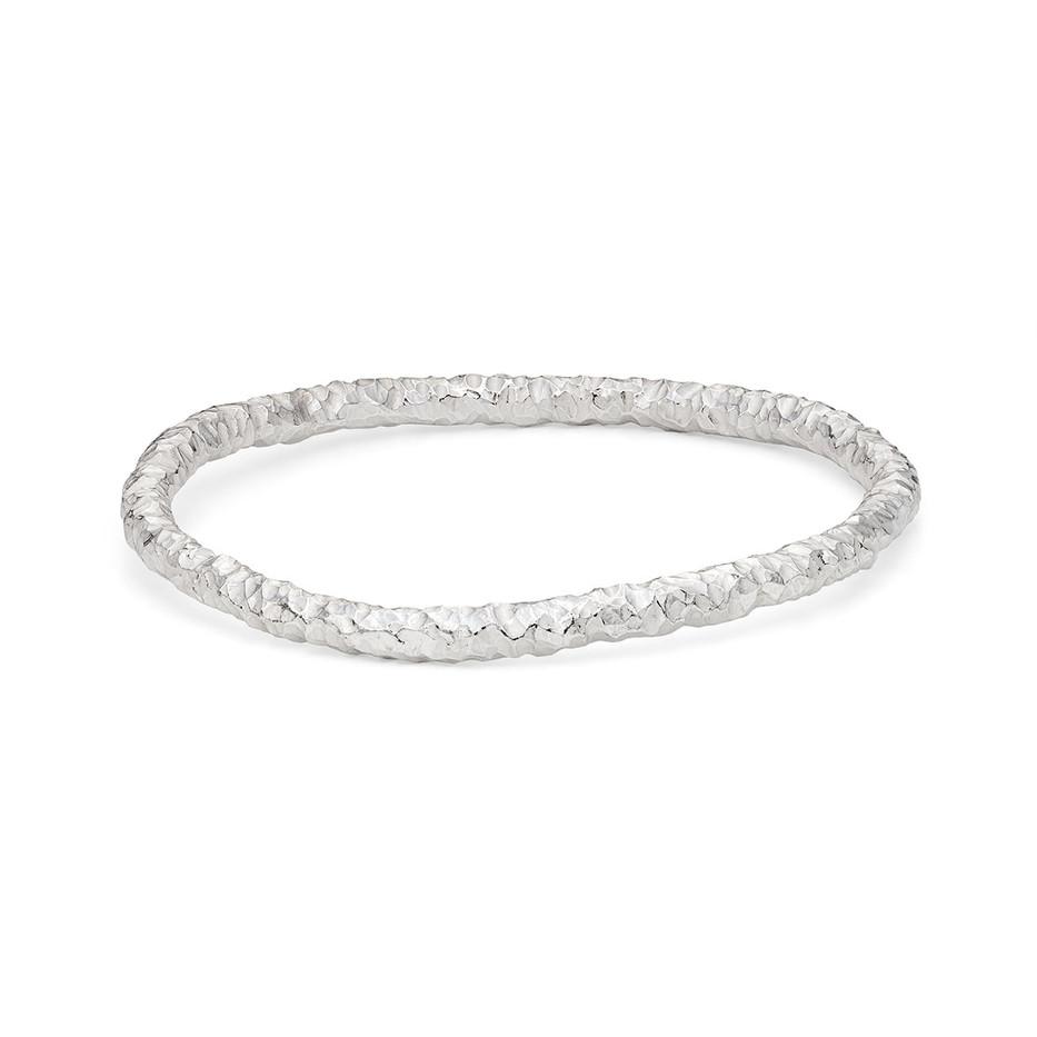 Beaten Bangle Single Silver