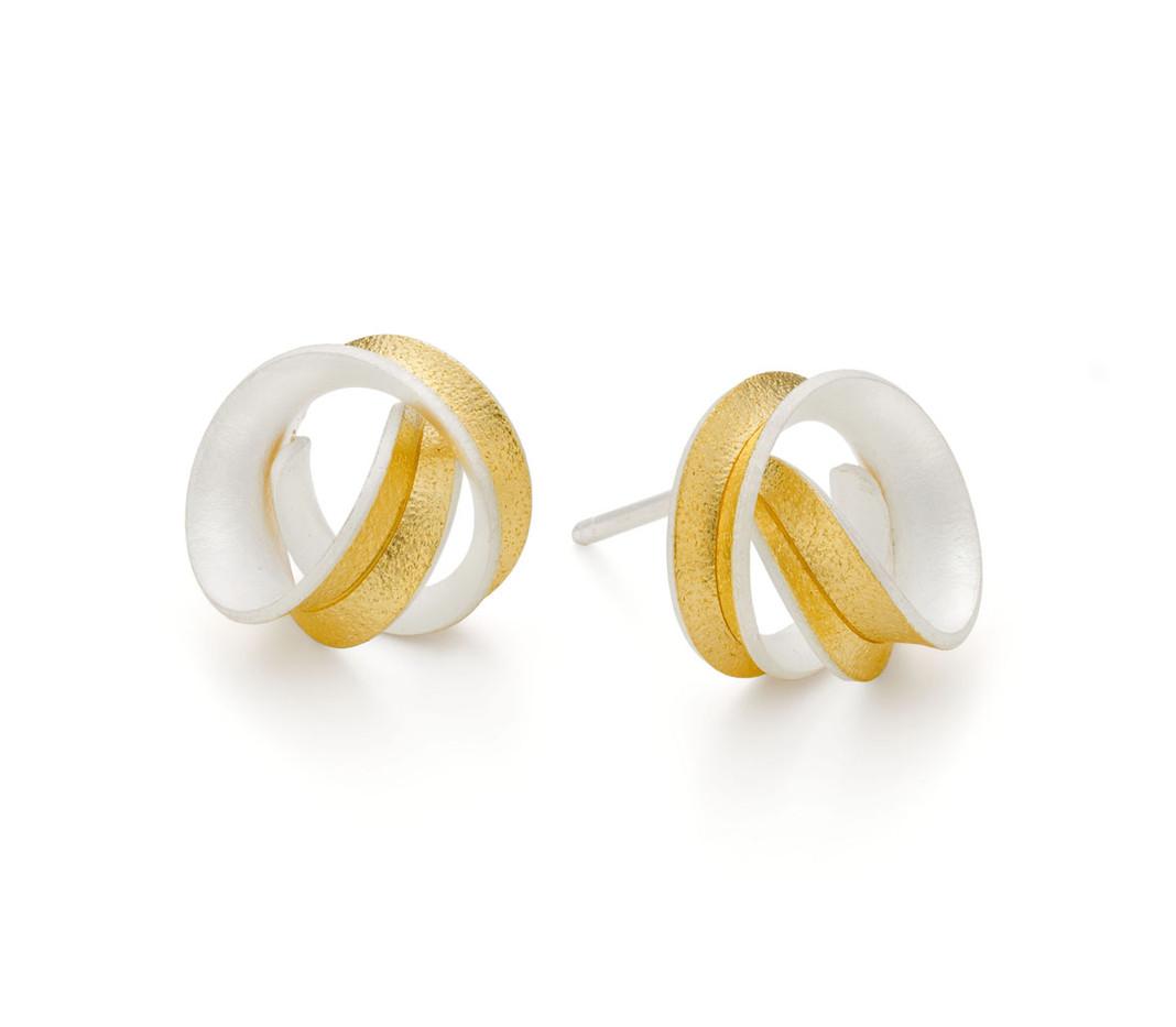 Gold Lined Silver Curl Stud Earrings